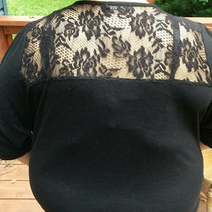 Black Faded Glory lace back top